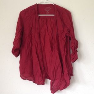 🔴Red Sonoma Button Up 3/4 Sleeves Tee Shirt Top L